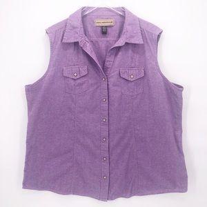 Bit & Bridle Pearl Snap Western Sleeveless Shirt